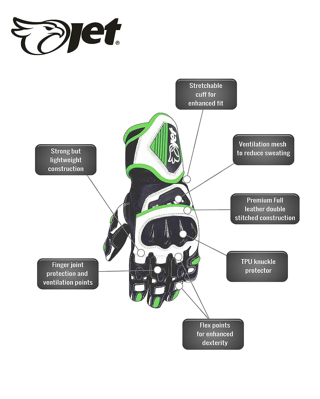2XL, Full Black JET Motorcycle Motorbike Gloves Premium Full Leather Gauntlet Race Hard Knuckle Gloves