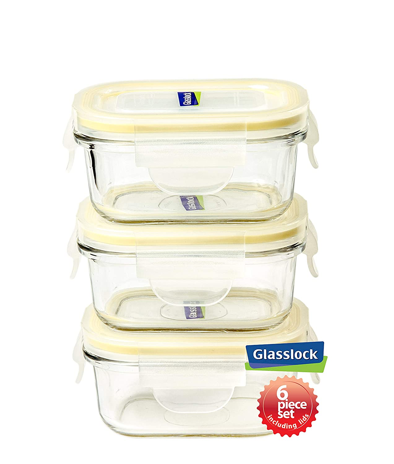 Glasslock Food-Storage Container with Locking Lids Microwave Safe 6pcs Set Rectangular 5oz Yum