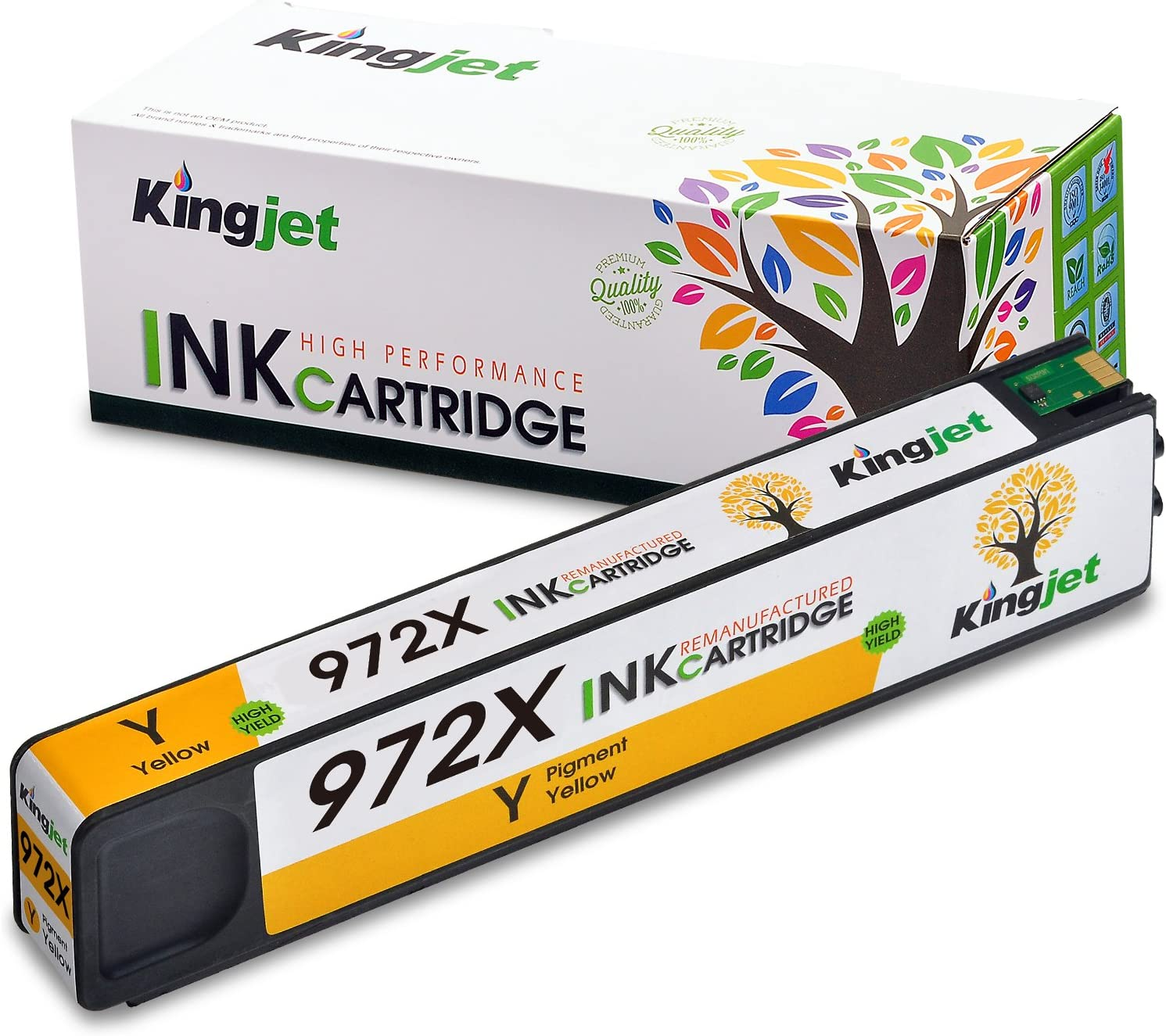 Kingjet Compatible Ink Cartridge Replacement for 972X Work with PageWide Pro 477dn, 477dw, 577dw, 577z, 552dw, 452dn, 452dw Printers, 1 Pack(Yellow)