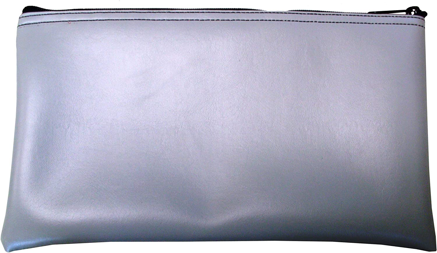 Vinyl Zipper Bags (Leatherette) Small, Compact Zippered Pouches | Portable Travel Utility | Check Wallet, Toiletries, Makeup, Cosmetics, Tools | Men, Women | Grey