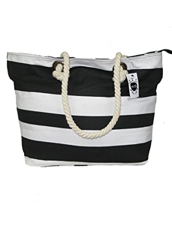 Extra Large Beach Bag - Black - Big Strong Striped Canvas Fabric ...