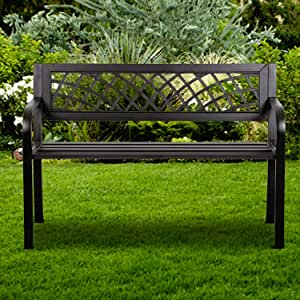 """Metal Garden Park Bench, 45.5"""" Powder Coated Cast Iron PVC Mesh Pattern Design Patio Metal Bench w/Armrests Sturdy Steel Frame, Outside Park Bench for Front Porch Path Yard Lawn Decor Deck Furniture"""