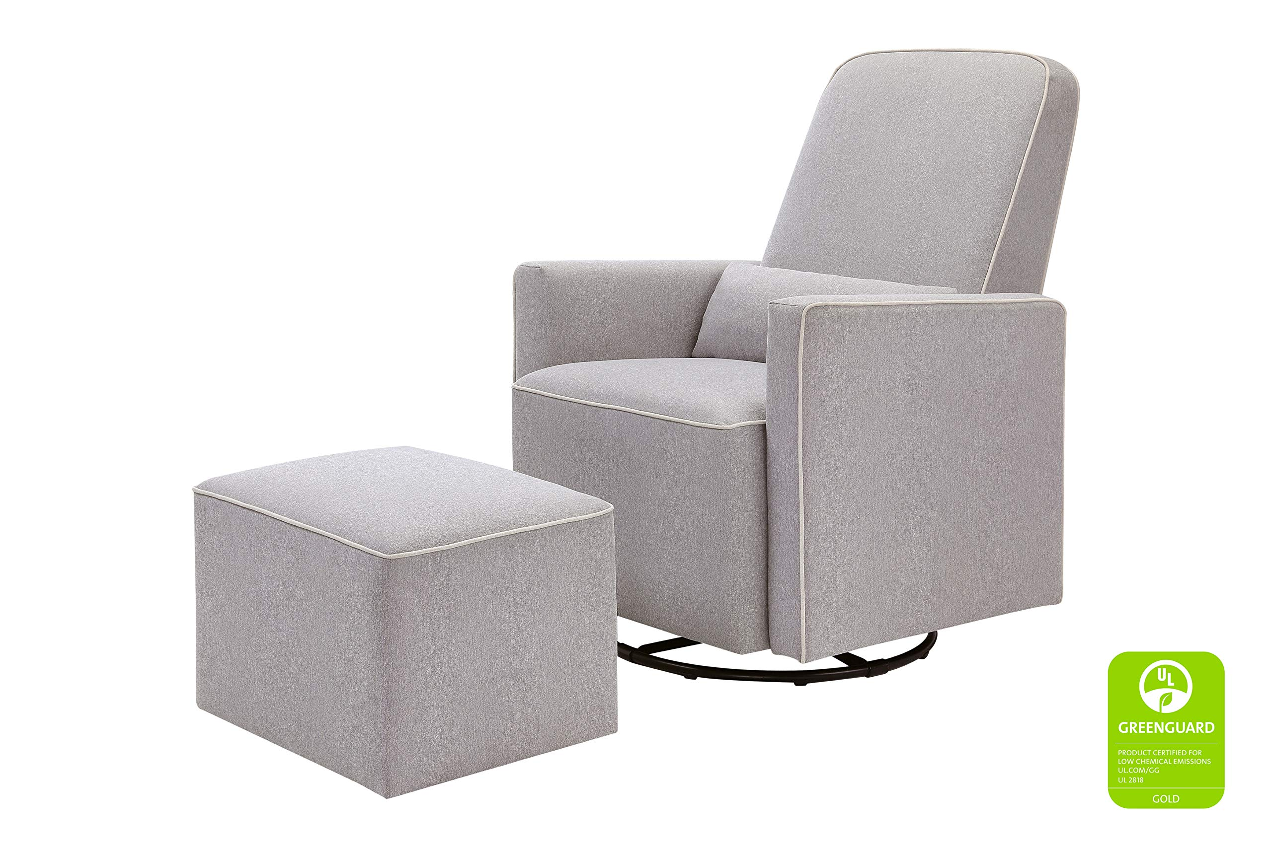 DaVinci Olive Upholstered Swivel Glider with Bonus Ottoman, Grey with Cream Piping by DaVinci