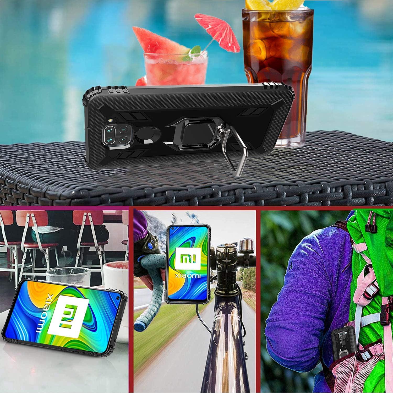 Anti-ca/ída TPU suave de-Negro Soporte giratorio de 360 grados con anillo de dedo 2 Pack IMBZBK Compatible con Funda Xiaomi Redmi Note 9 + Protector Pantalla Xiaomi Redmi Note 9 Cristal Templado,