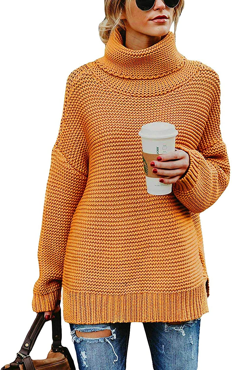 OHDREAM Womens Pullover Sweaters Plus Size Turtleneck Cowl Neck Chunky Cable Knit Long Sleeve Fall Sweater