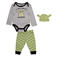 Star Wars Baby Yoda Onesie Bodysuit with Pants and Matching Cap 3 Piece Set