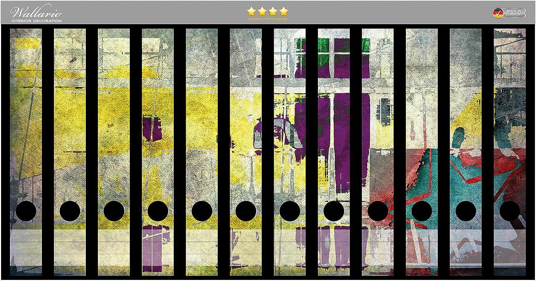 Wallario Ordnerr/ücken Sticker Retro-Style lila-gelb in Premiumqualit/ät Gr/ö/ße 8 x 3,5 x 30 cm passend f/ür 8 schmale Ordnerr/ücken