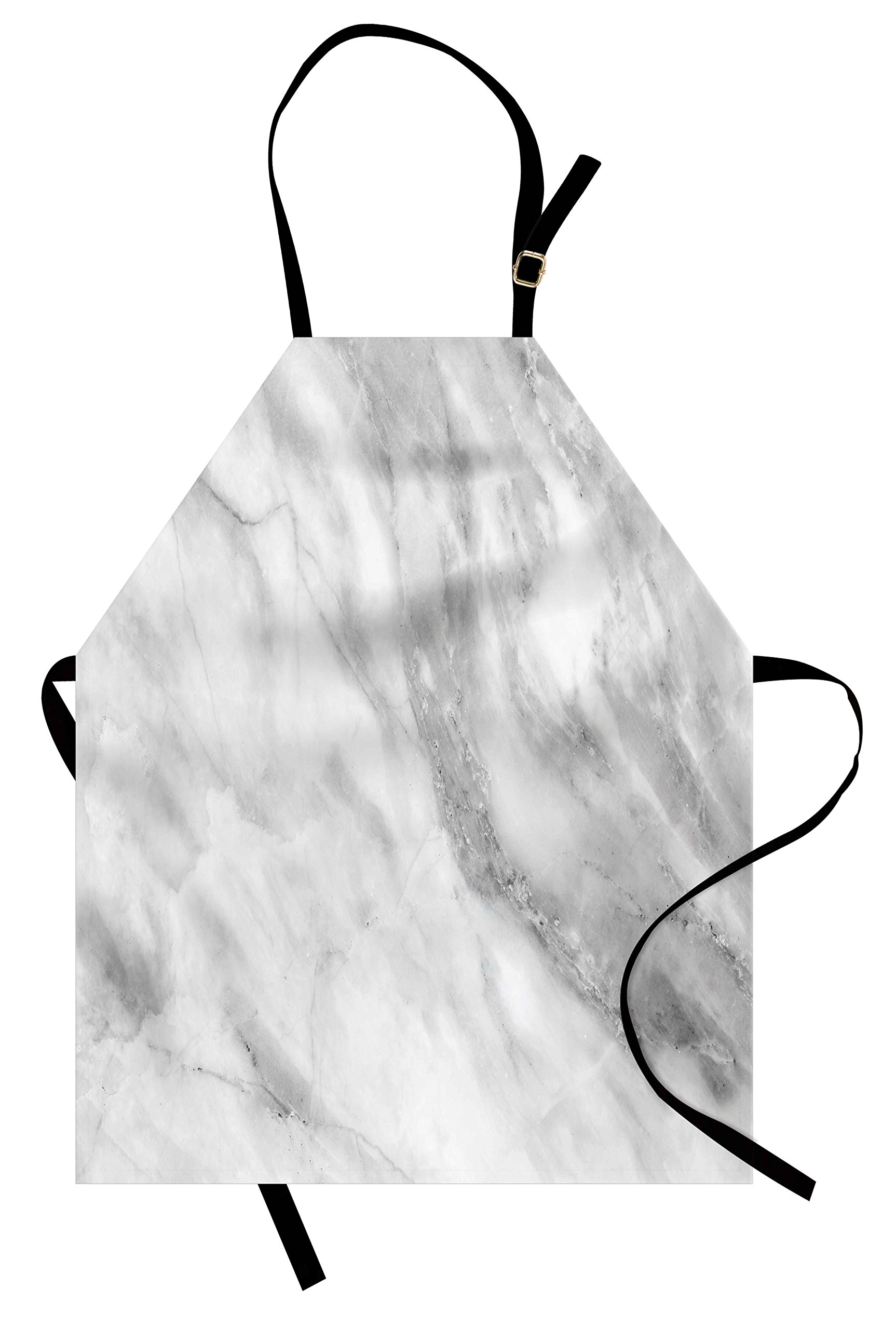 Ambesonne Marble Apron, Marble Surface Textured Hazy Cracks and Veins Shady Limestone Ceramic Artful Print, Unisex Kitchen Bib Apron with Adjustable Neck for Cooking Baking Gardening, Grey Dust