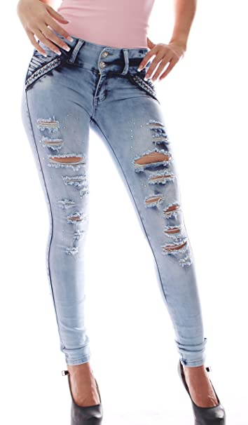 FARINA®1609 Pantalon Roto Vaquero de Mujer 51c6b49ea3ee