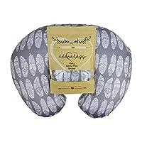 Minky Nursing Pillow Slipcover | Gray Feathers Design | Infant Breastfeeding Soft...