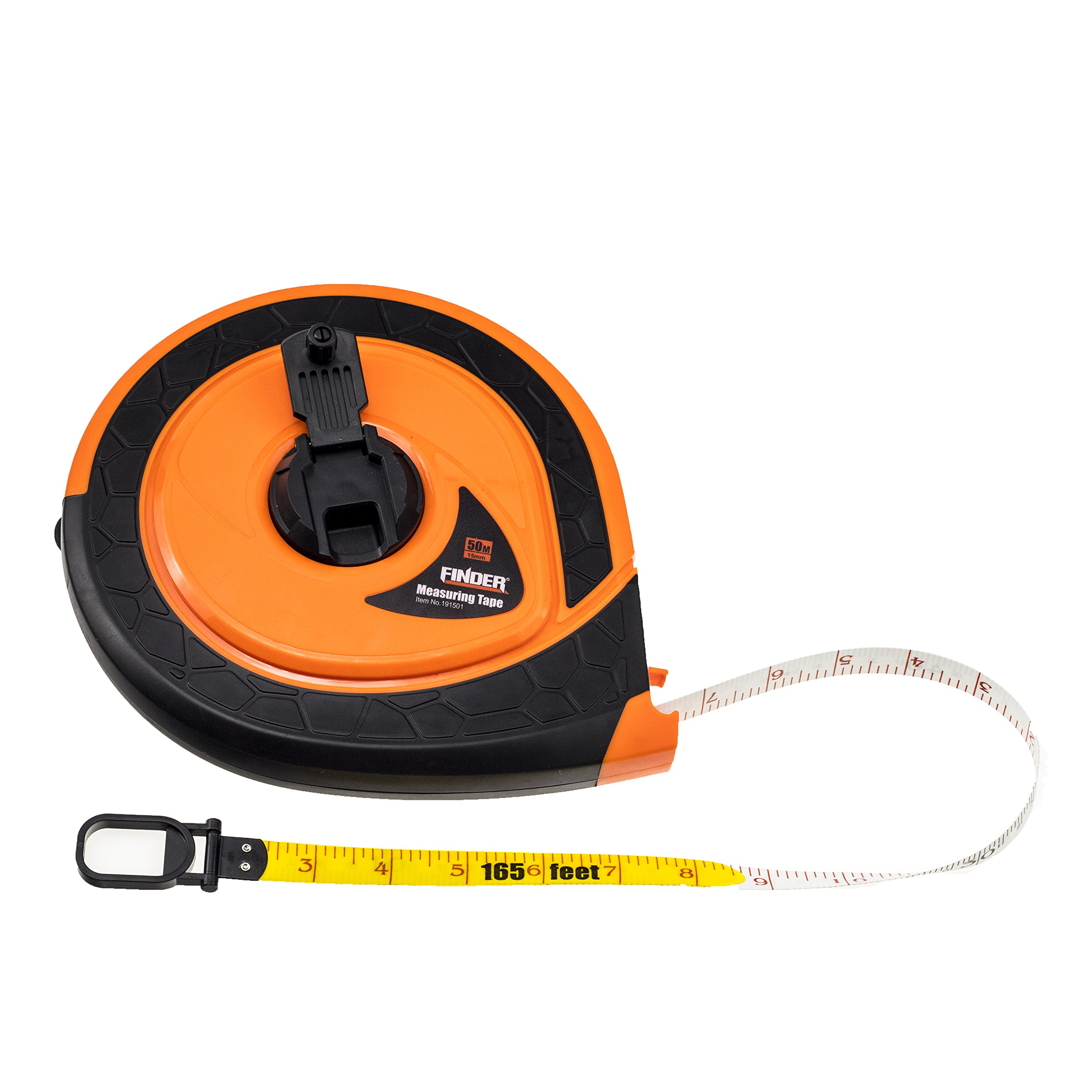 Finder 4X Speed Rewinding 164ft (50m) Fiberglass Measuring Tape Reels, 2-Sided Nylon Metric/Imperial 15mm 5/8-Inch, Extra Long, Tough and Durable Professional Tool