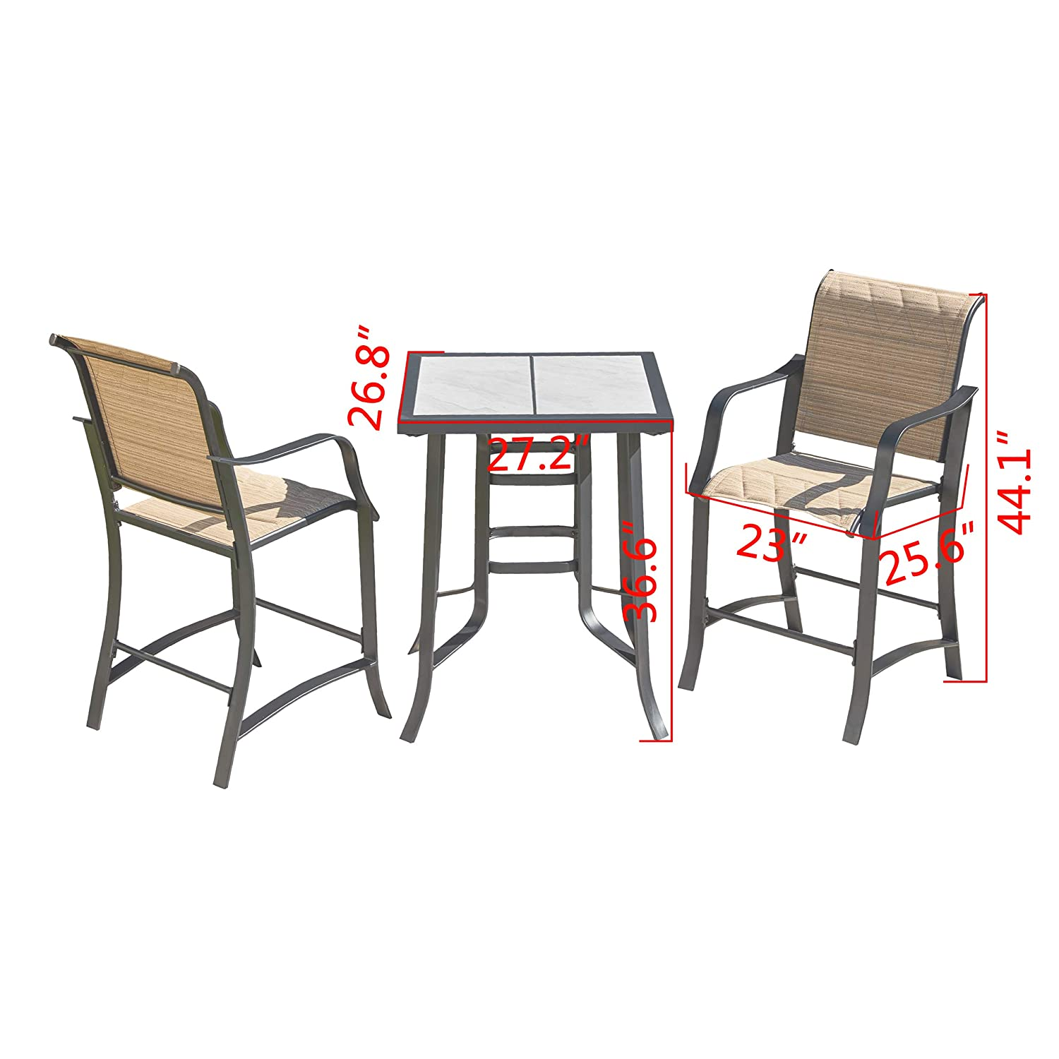 LOKATSE HOME Bar Stools and Table Height Bistro Set Outdoor Furniture, Beige