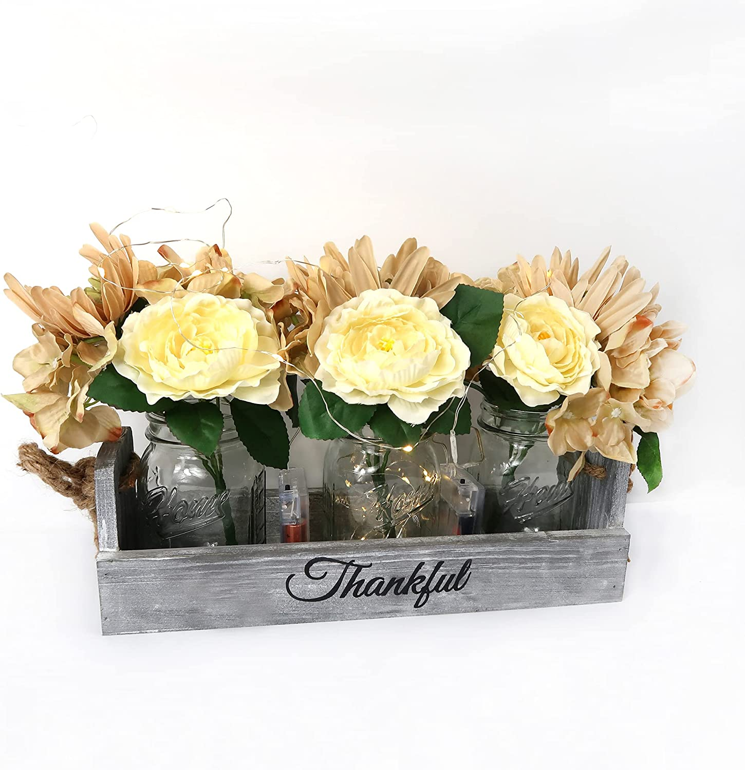 Mason Jar Centerpiece for Table - Besuerte Country Kitchen Decor with Thankful Farmhouse Box, LED String Light & Decorative Flowers for Home Kitchen Utensil Holder, Coffee Table Display