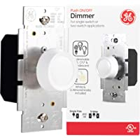 GE, 3-Way Dimmer Switch, Push On/Off, Rotating, Use with Dimmable LED and CFL and Incandescent Bulbs, Includes Two Knob…