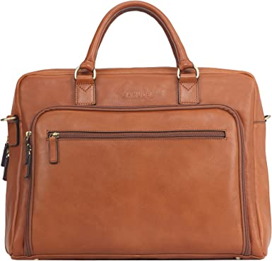 "Soft Leather Mens 14/"" Laptop Briefcase Portfolio Shoulder Hand Bag Business Tote"