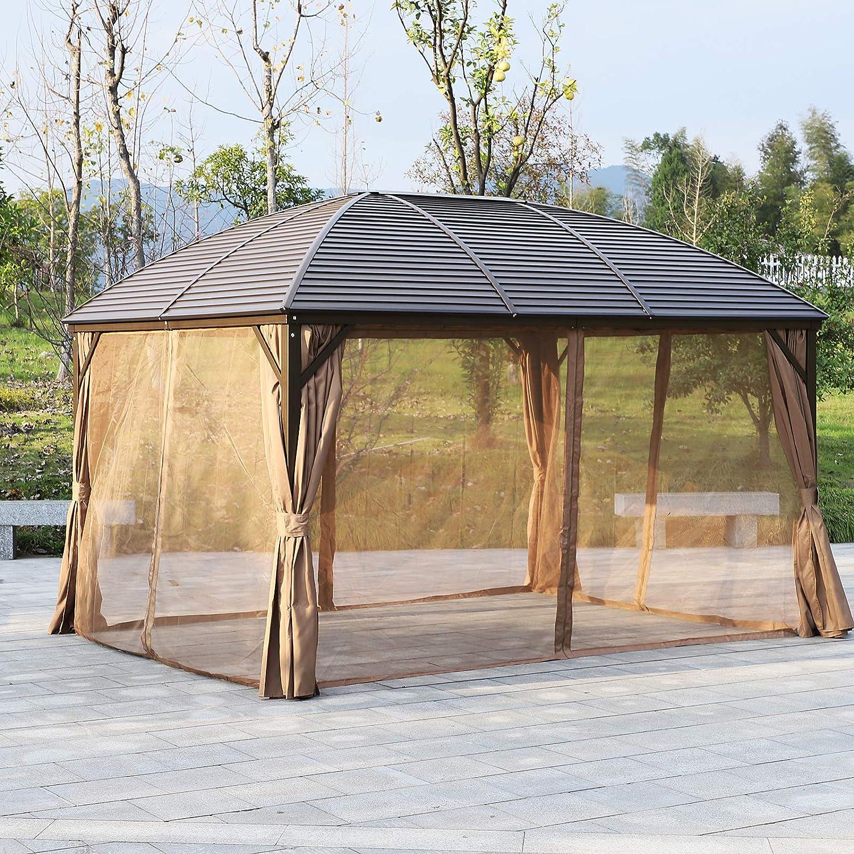 Outsunny - Toldo de techo de aluminio para patio, 3 x 4 m, con cortinas de malla y paredes laterales: Amazon.es: Jardín