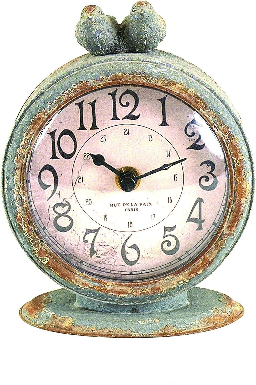 Creative Co-op Grey Pewter Mantel Birds Clocks