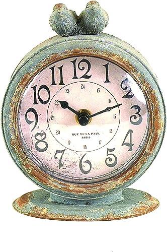 Creative Co-op Grey Pewter Mantel Birds Clocks, Pack of 1