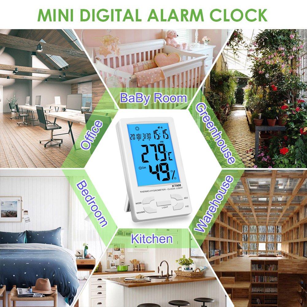 NeKan Termómetro Higrometro Digital Medidor de Humedad Digital Termo-higrómetro Monitorización Interior/Exterior Temperatura y Humedad (Termómetros2): ...