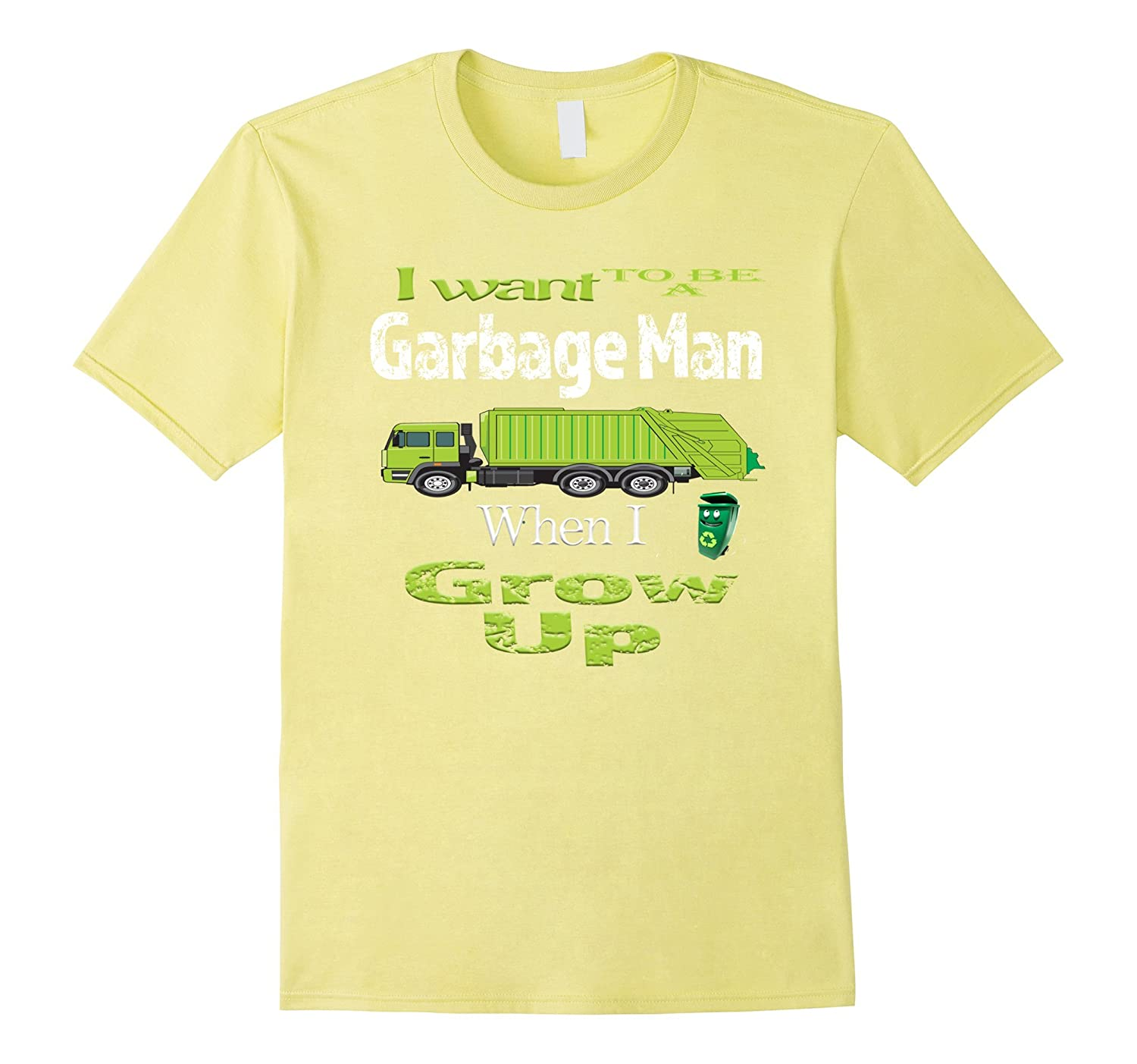 I Want to be a Garbage Man Boys Girls Kids Truck Trash Shirt-CD
