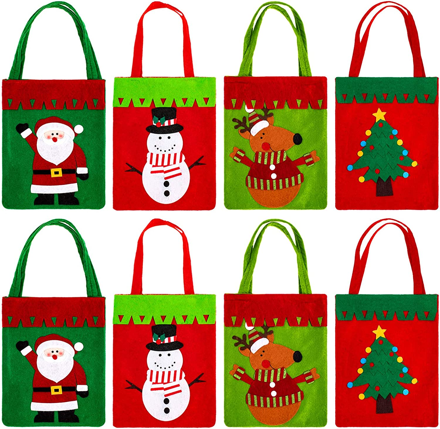 Whaline 8Pcs Christmas Tote Gift Bag,Reusable Non-Woven Thickened Candy Bag,Santa Claus Snowmen Christmas Tree Reindeer Design Shopping Bags with Long Loop Handles for Christmas Party Favor(Red,Green)