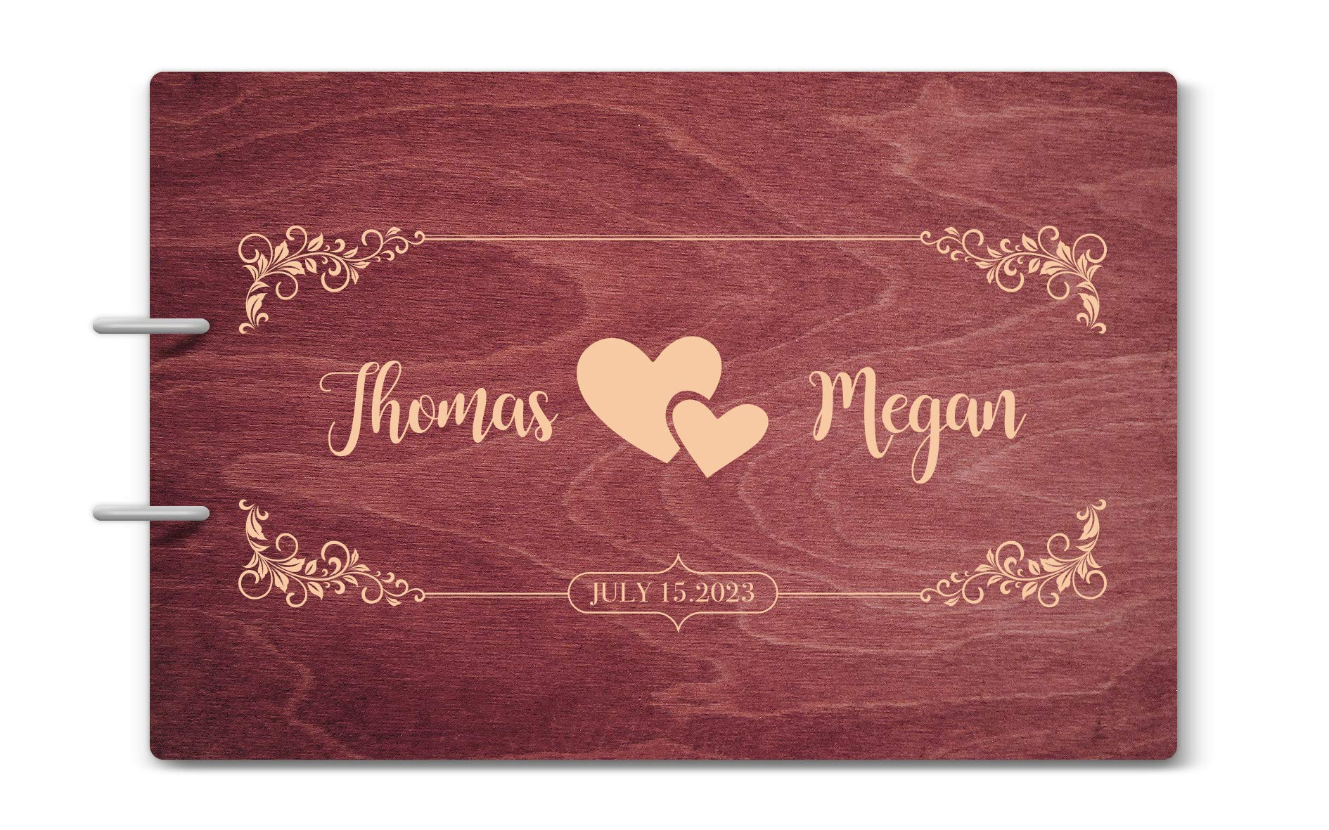 Custom Engraved Wooden Rustic Wedding Guest Book - Personalized Monogrammed - 02 Rose