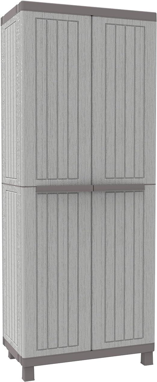 Grigio//Tortora TERRY C Wood 3680 Armadio Alto in Plastica Portascope 68 x 39 x 170 cm