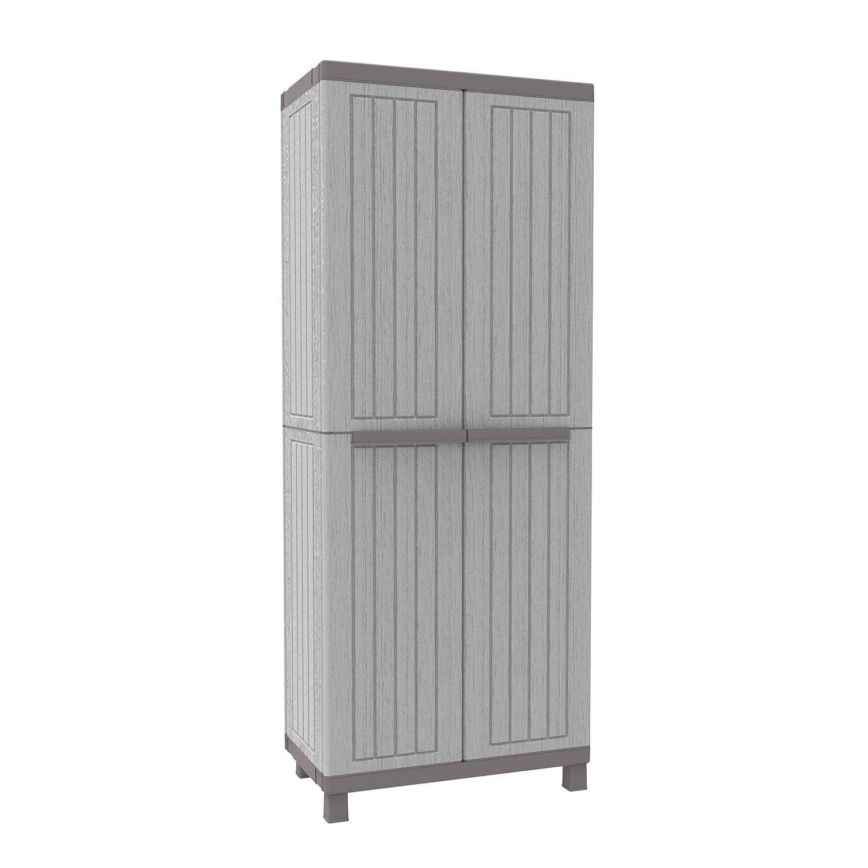 Terry C-Wood 2680 hoher Schrank aus Kunststoff mit mehreren Einlegebö den, grau/taupe, 68 x 39 x 170 cm Terry Store-Age Spa 1002723