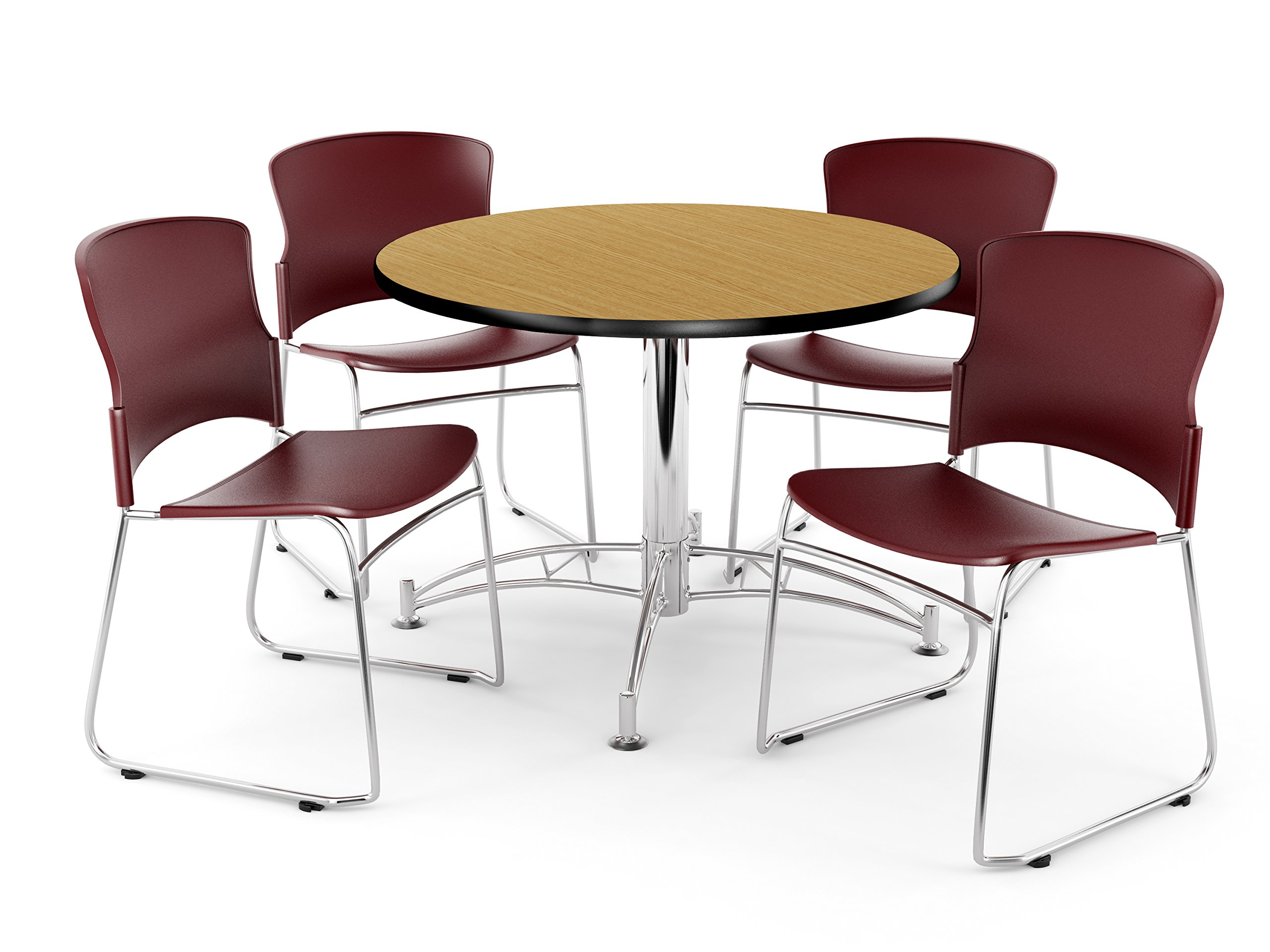 OFM PKG-BRK-10-0015 Breakroom Package, Oak Table/Wine Chair
