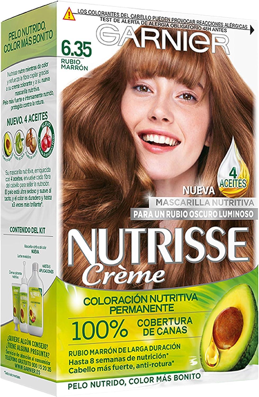 Garnier Nutrisse Creme Coloración permanente con mascarilla nutritiva de cuatro aceites - Rubio Marrón 6.35
