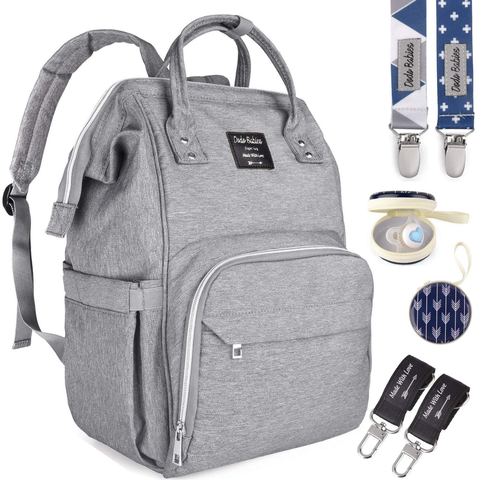 Diaper Bag by Dodo Babies + 2 Pacifier Clips + Pacifier Case, Multi-Function Waterproof Maternity Nappy Bags, Travel Backpack Large Capacity Excellent Baby Shower/Registry Gift by Dodo Baby