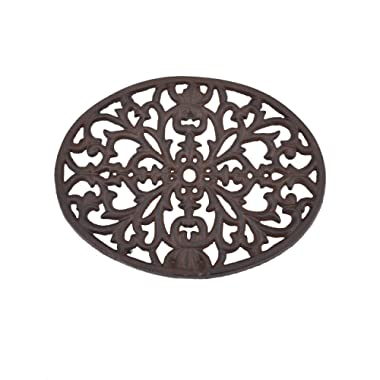 Creative Co-Op DA2594 Round Black Cast Iron Trivet