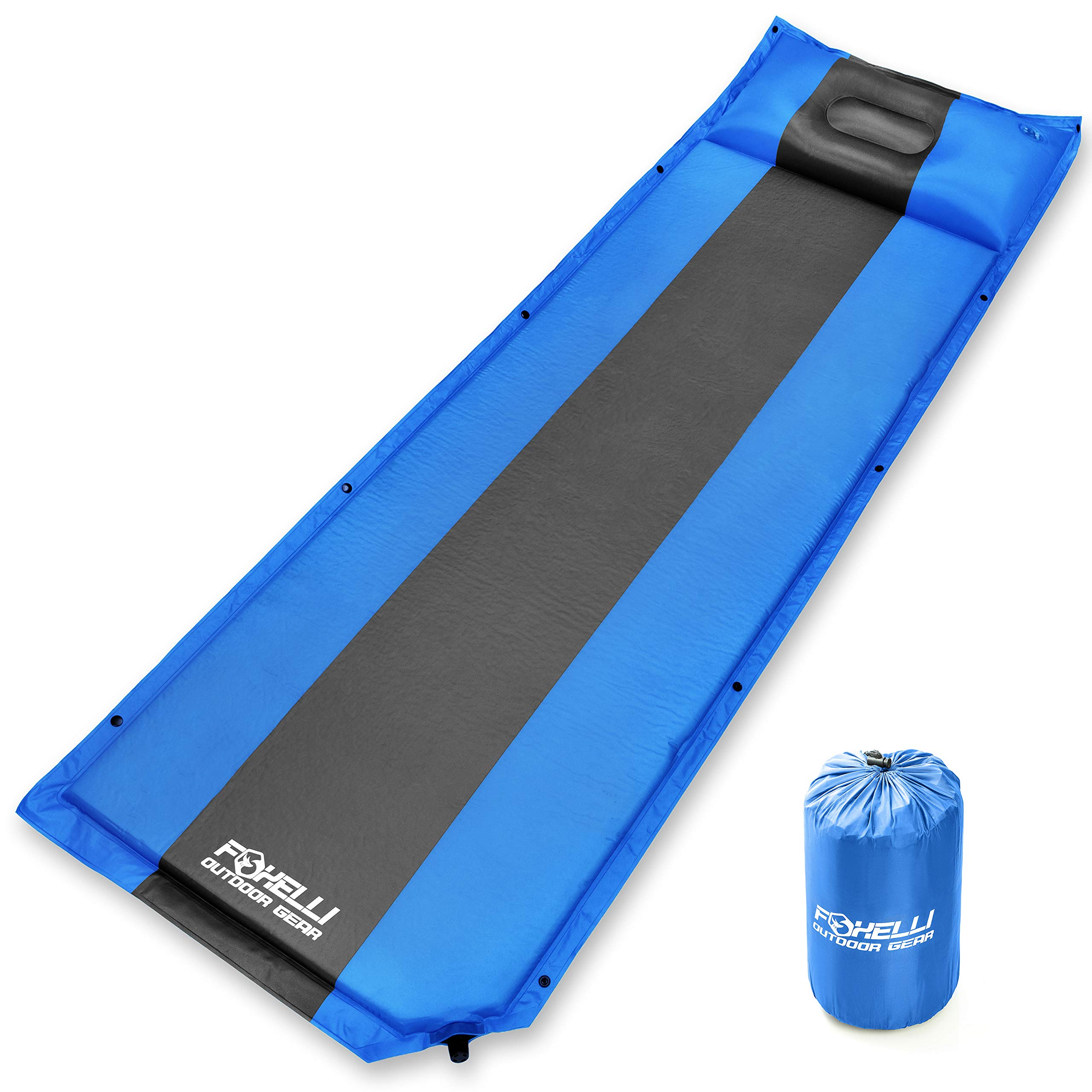 Foxelli Sleeping Pad - Comfortable & Compact Self Inflating Sleeping Mat with Pillow, Lightweight, Moisture-Proof Camping Pad, Perfect for Hiking & Backpacking by Foxelli