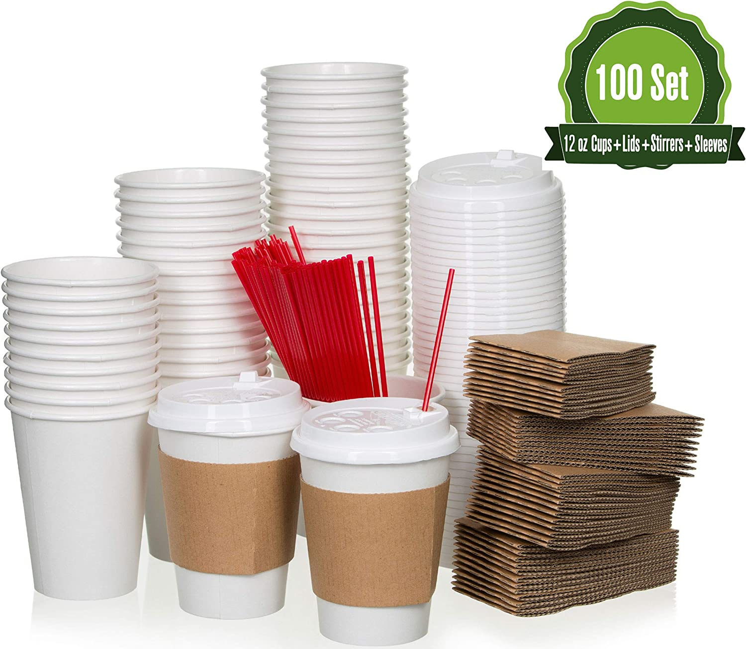Safeware 12 oz [ 100 Set] Togo Disposable White Paper Coffee Cups with Lids, Sleeves, and Stirrers | Hot Beverages | Expresso | Tea | Coffee | Latte | Hot Chocolate