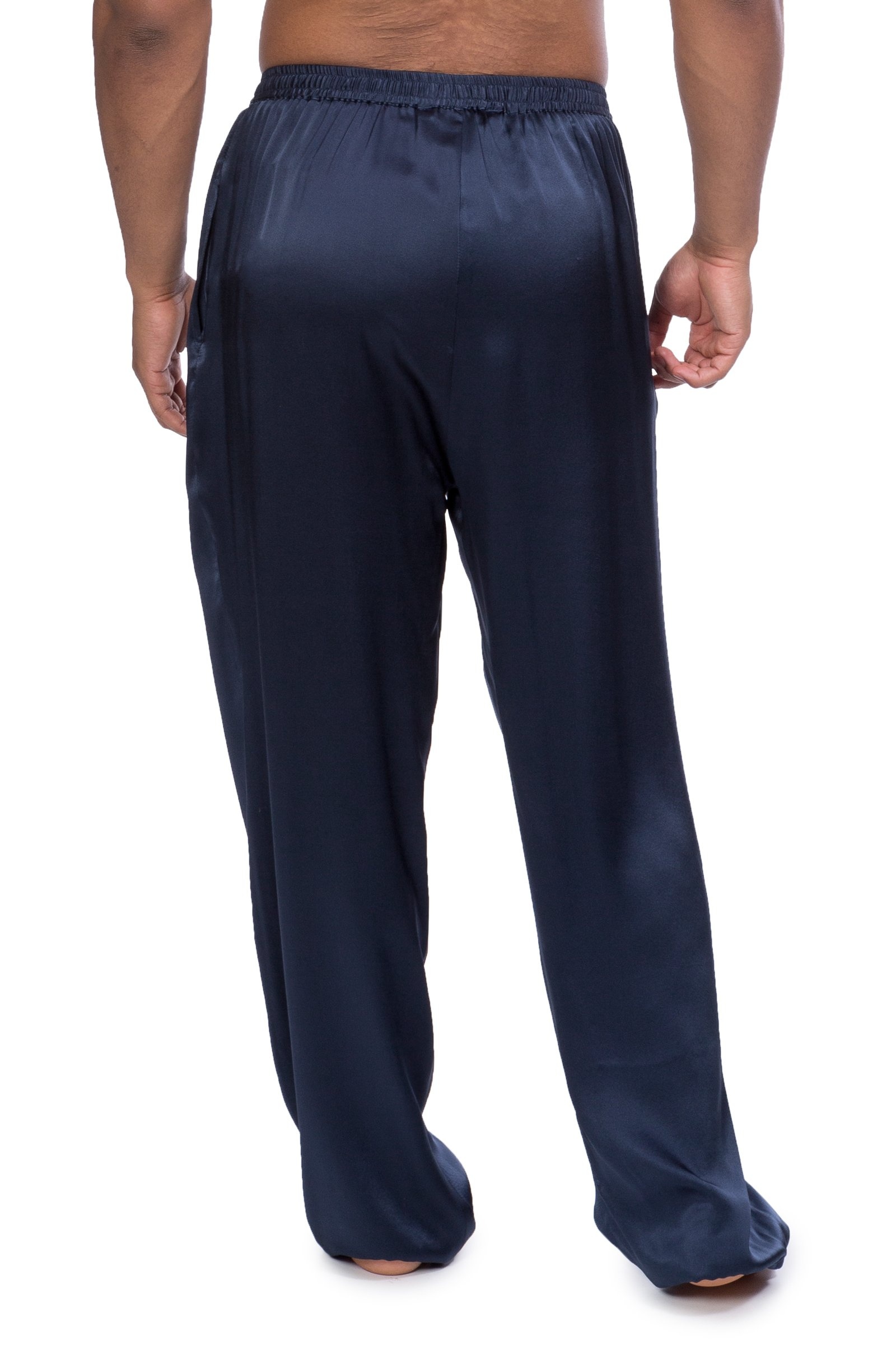 Men's Luxury Silk Pajama Pants (Hiruko, Midnight Blue, X-Large) Unique Valentine's Day Gifts for Him MS0201-MID-XL by TexereSilk (Image #3)