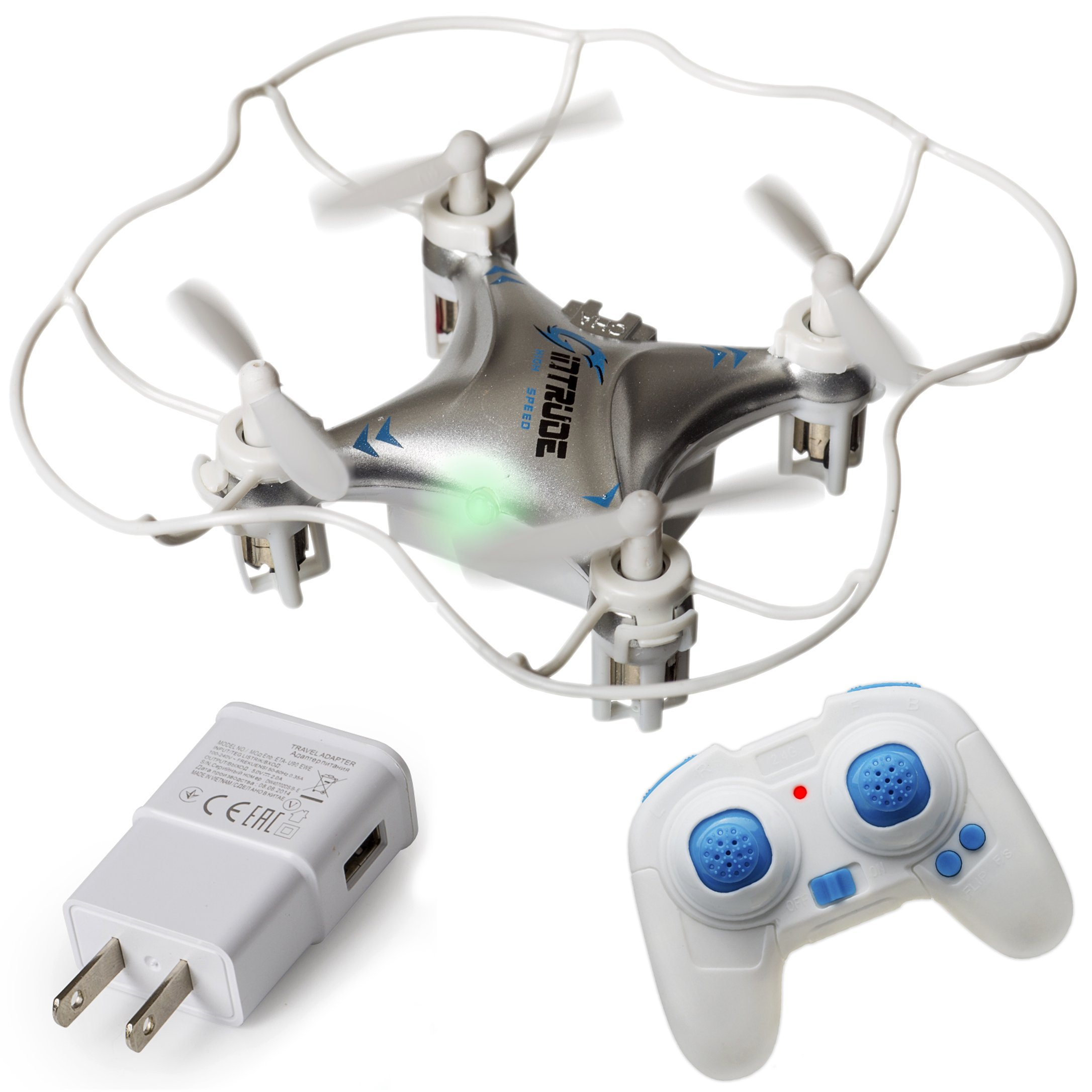 Mini Quadcopter Drone + FREE Wall Charger - Beginner Flying RC Helicopter Drone for Kids and Adults - Small, Rugged, Easy-to-Use 6-Axis Gyro, Advanced Stunt Controller, LED Light System by Duddy