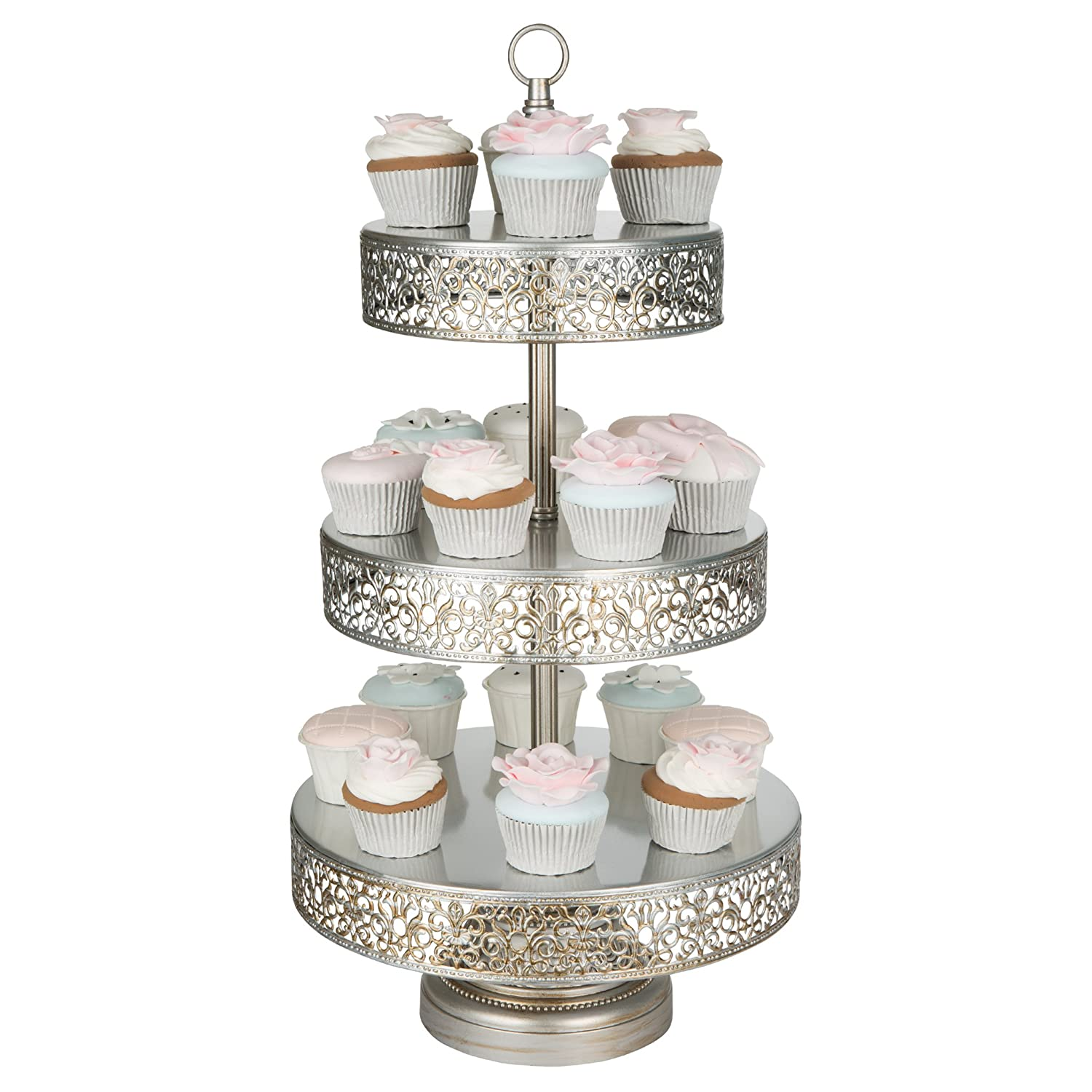 Amazon Com Victoria Collection Antique Silver Tier Cupcake