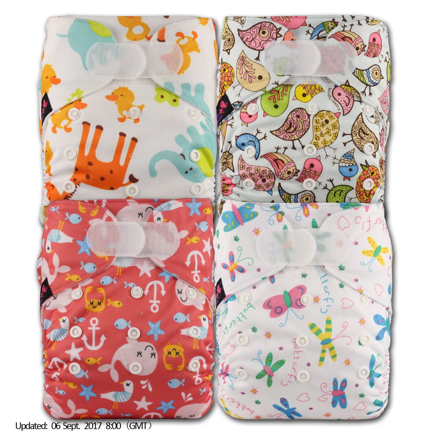 Littles & Bloomz, Reusable Pocket Cloth Nappy, Fastener: Hook-Loop, Set of 4, Patterns 417, With 8 Microfibre Inserts