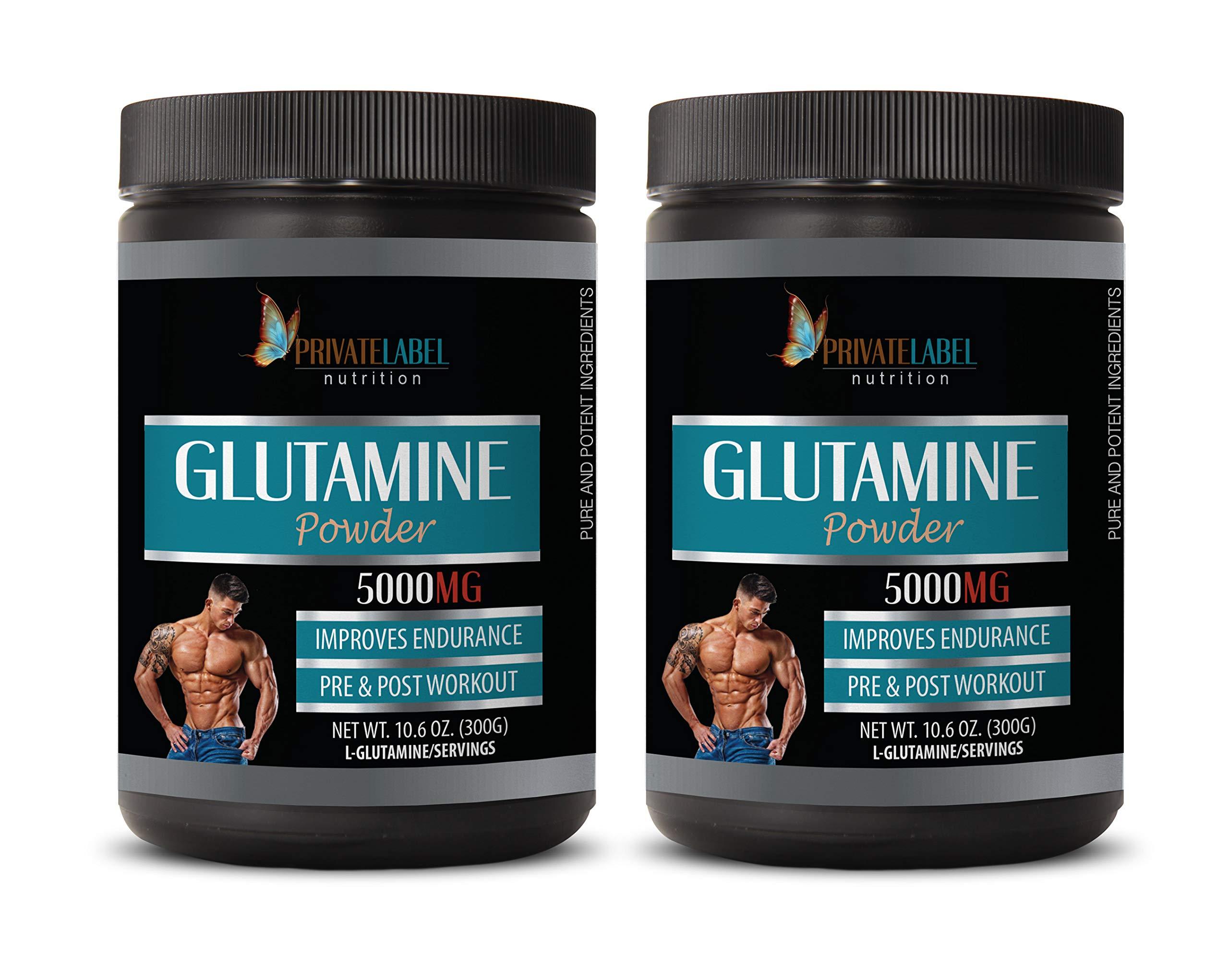 Muscle Pump Supplements - GLUTAMINE 5000MG Powder - Improves Endurance - glutamine Powder - 2 Cans 600 Grams