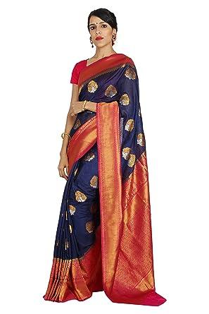 4c44fdf916a62 Hastakala Raw Silk Fabric Woven Navy Blue Pink Saree having Golden Silver  Butti and Rich Pallu