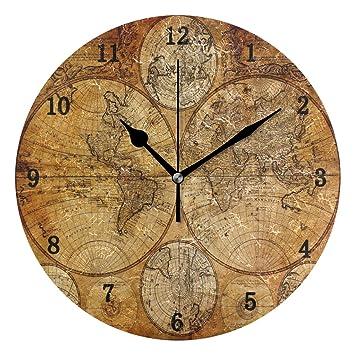 ZZKKO Reloj de Pared Vintage con Mapa del Mundo, silencioso, Funciona con Pilas,