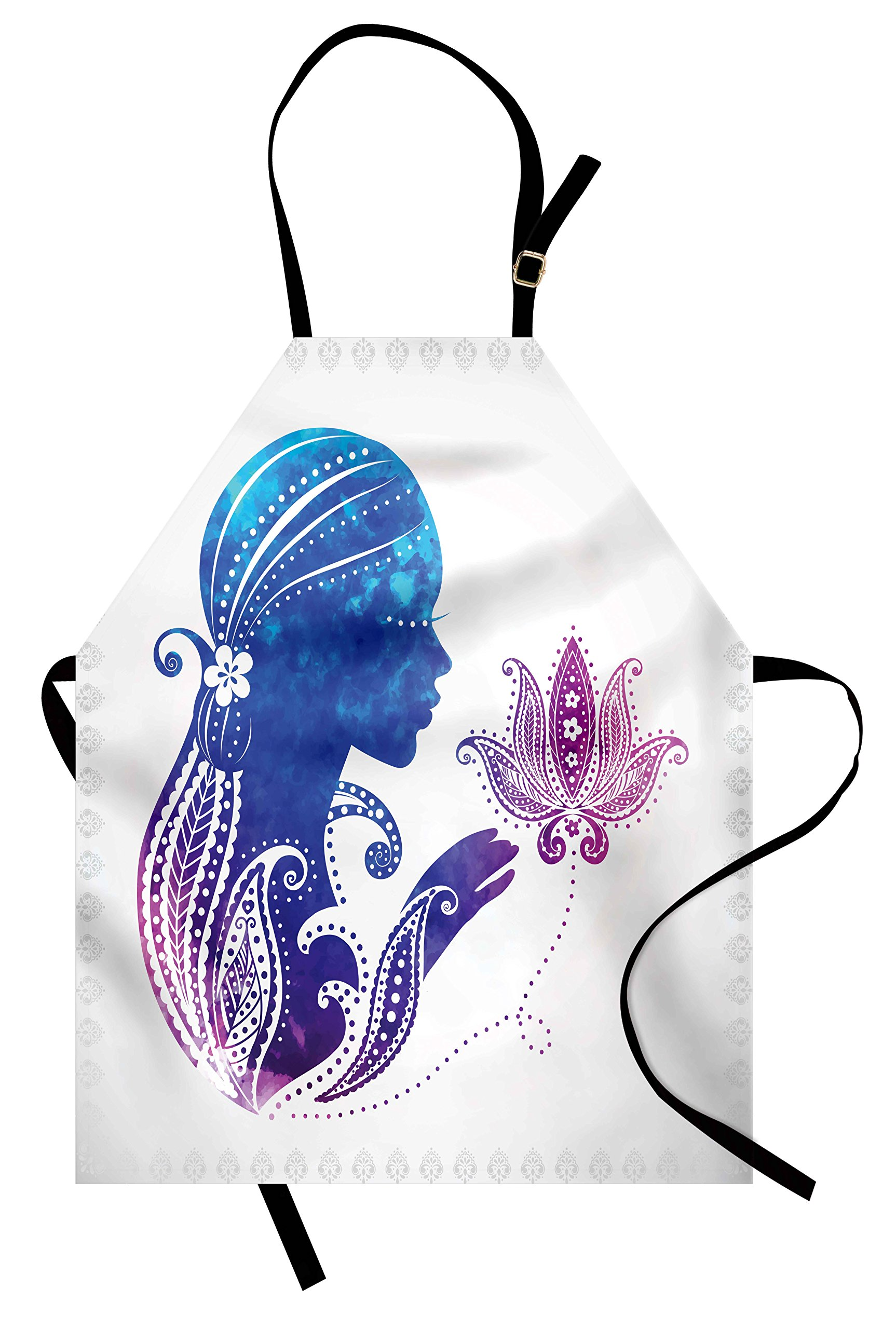 Ambesonne Teen Girls Apron, Girl's Silhouette with Flowers on Her Hair Floral Ornaments Meditation Spa Art, Unisex Kitchen Bib Apron with Adjustable Neck for Cooking Baking Gardening, Purple Blue