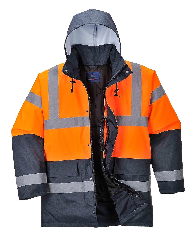 Portwest Hi Vis Contrast Traffic Jacket Visibility Work Raincoat, ANSI 3:2 US467