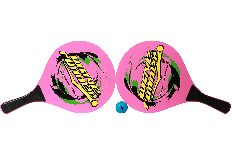 Amazon.com : Wave Runner Beach Rackets Set Paddle Racket Tennis Wooden Beach Summer Sports, Blue, One Size : Sports & Outdoors