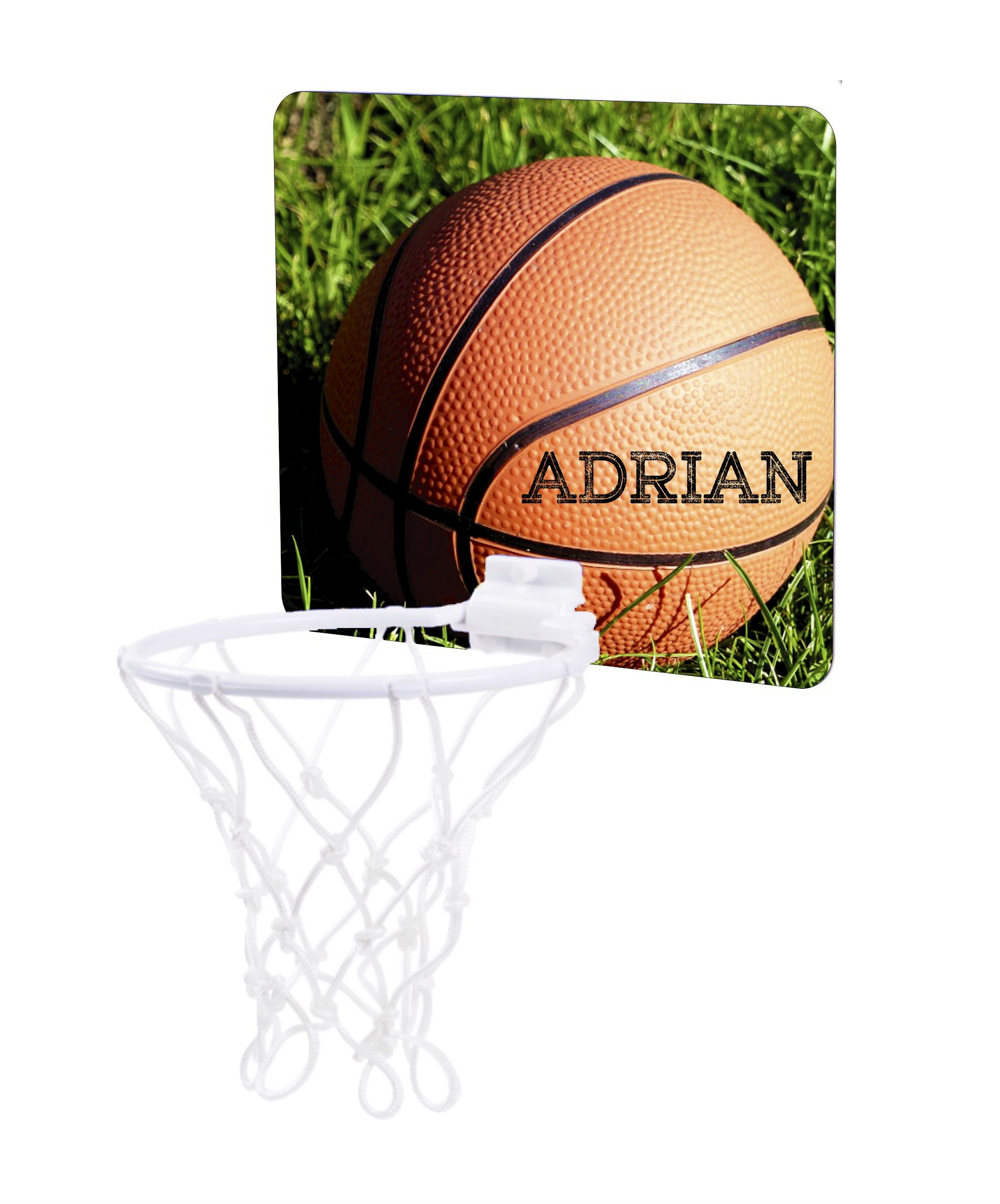 Jacks Outlet Basketball in the Grass - Custom Unisex Childrens 7.5'' x 9'' Mini Basketball Backboard - Goal with 6'' Hoop by Jacks Outlet (Image #1)