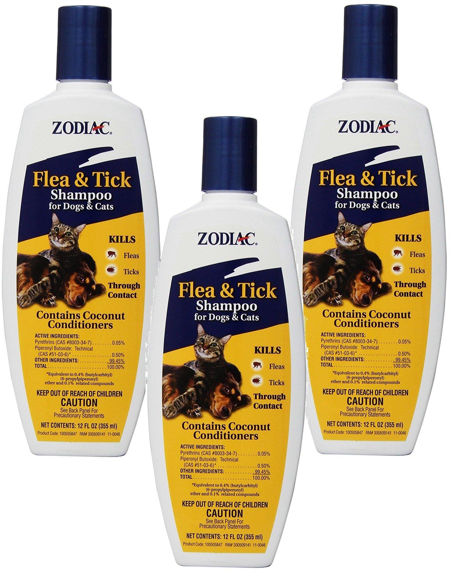 Zodiac (3 Pack) Flea & Tick Shampoo for Dogs & Cats, 12-Ounce