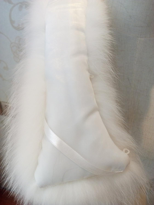 Lovingbeauty Cream Ivory Fur Scarf Real Fox Fur Collar Neck Warmer Scarf for Kids