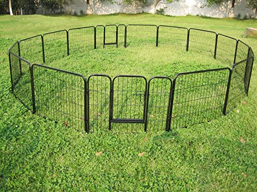 Exercise Barrier Fence Metal 24 Tall for Pet Dog Puppy Cat 16 Panels FABUDERFUL