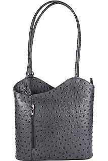 a5a53790f1f47 Belli italienische Ledertasche Backpack Classic 2in1 Damen Rucksack Leder  Handtasche Schultertasche - 28x28x8 cm (B