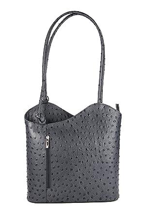 4bbc51d23adc6 Belli ital. Ledertasche Backpack 2in1 Rucksack Handtasche Schultertasche -  Freie Farbwahl - 28x28x8 cm (